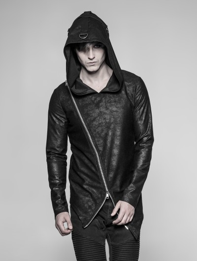 Punk Rave Black Gothic Punk Daily Pullovers Hoodie for Men