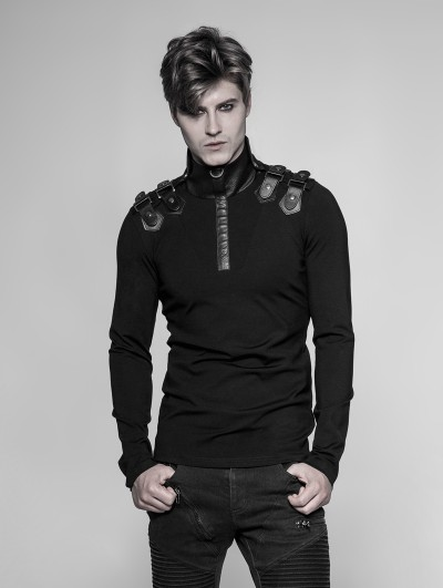 Punk Rave Black Gothic Uniform Long Sleeve T-Shirt for Men