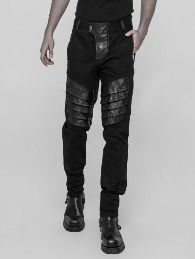 Punk Rave Black Gothic Punk Armor Trousers for Men