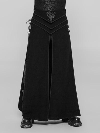 Punk Rave Black Gothic Retro Jacquard Skirt for Men