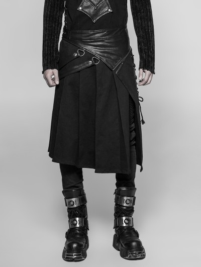 Punk Rave Black Gothic Punk Removable Half Skirt for Men