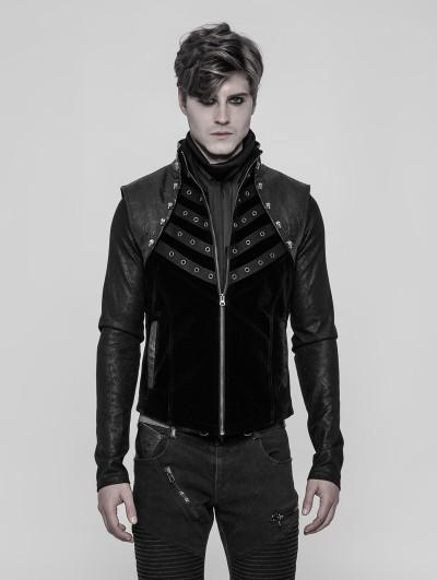 Punk Rave Black Gothic Punk Metal Vest for Men
