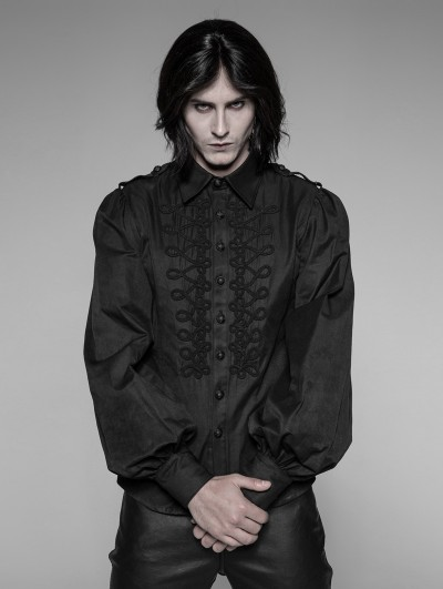 Punk Rave Black Gothic Uniform Retro Long Sleeves Blouse for Men