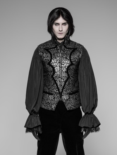 Punk Rave Silver Retro Gothic High Collar Waistcoat for Men