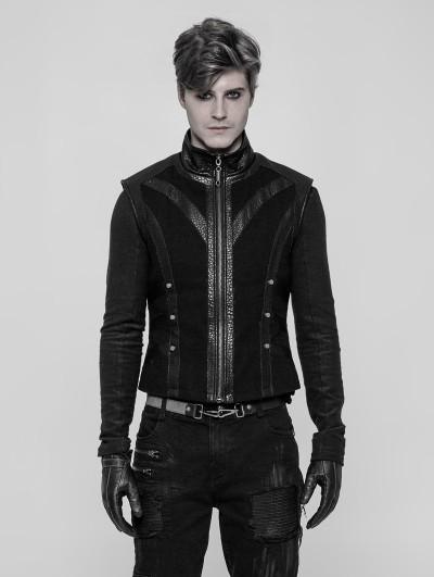 Punk Rave Black Gothic Punk Rough Vest for Men