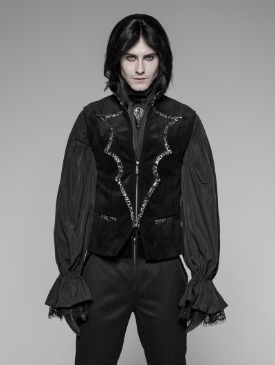 Punk Rave Black Gothic Bat Collar Velvet Vest for Men