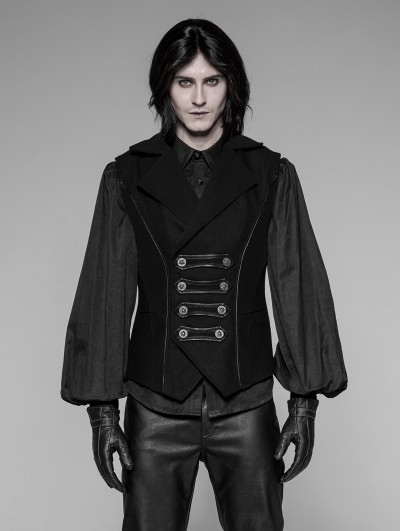 Punk Rave Black Gothic Uniform Men's Vest