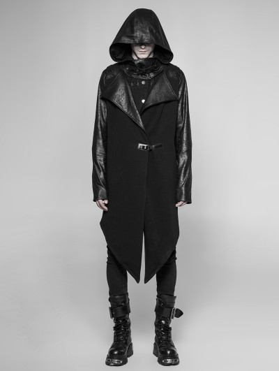 Punk Rave Black Gothic Punk Long Hooded Cardigan for Men