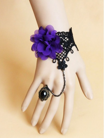 Handmade Black Lace Purple Flower Gothic Bracelet Ring Jewelry