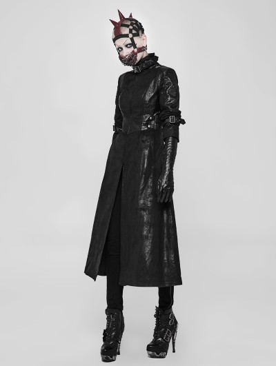 Punk Rave Black Gothic Punk Darkness Long Coat for Women