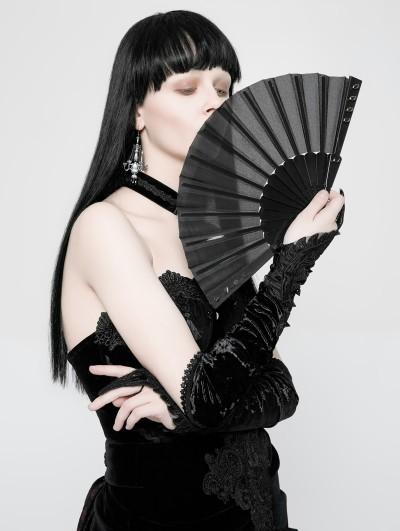 Punk Rave Gothic Punk Fabric Rivet Fan