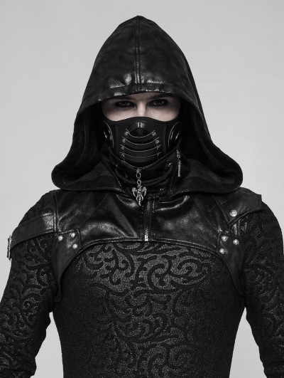 Punk Rave Black Gothic Punk Hooded Accessory for Men