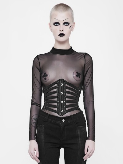 Punk Rave Black Gothic Punk Girdle for Women