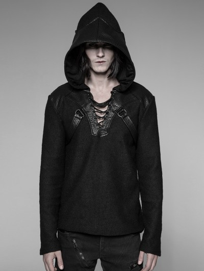Punk Rave Black Gothic Punk Pullovers Sweater for Men