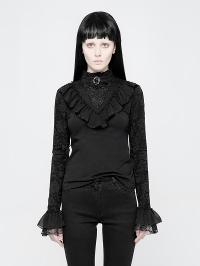 Punk Rave Black Gothic Lolita Stand Collar Lace T-Shirt for Women