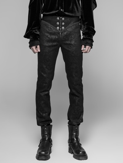 Punk Rave Black Retro Gothic Trousers for Men