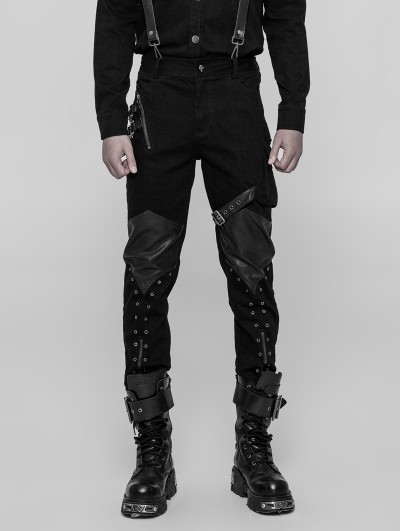 Punk Rave Black Gothic Punk Casual Trousers for Men