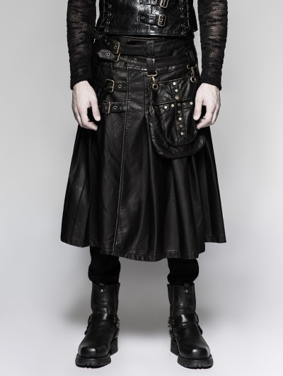 Punk Rave Black Gothic Punk Heavy Metal Leather Skirt for Men