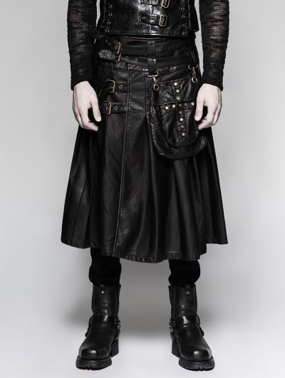 Punk Rave Black Gothic Punk Heavy Metal Leather Skirt for Men