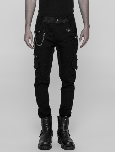 Punk Rave Black Gothic Male Heavy Punk Metal Trousers