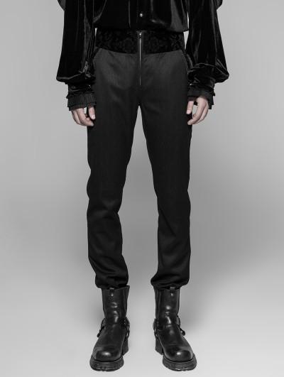Punk Rave Black Gothic Dark Stripes Trousers for Men
