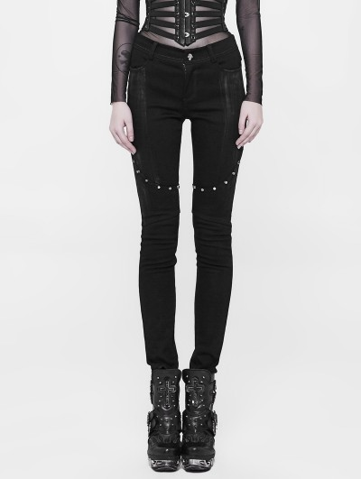 Punk Rave Black Gothic Punk Long Denim Pants for Women