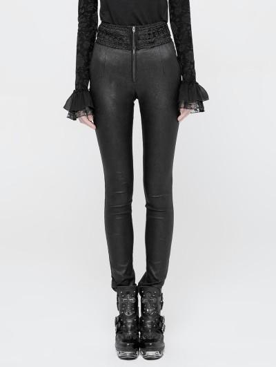 Punk Rave Black Gothic Jacquard High Waist Pants for Women