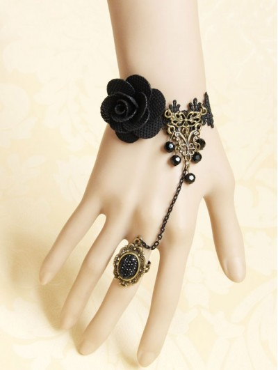 Handmade Black Lace Flower Gothic Bracelet Ring Jewelry
