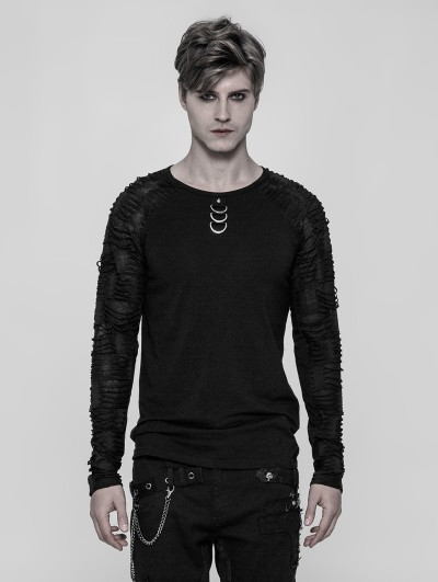 Punk Rave Black Gothic Punk Men's Long Sleeve T-shirt