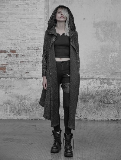 Punk Rave Gothic Weird Long Cardigan Sweater for Women