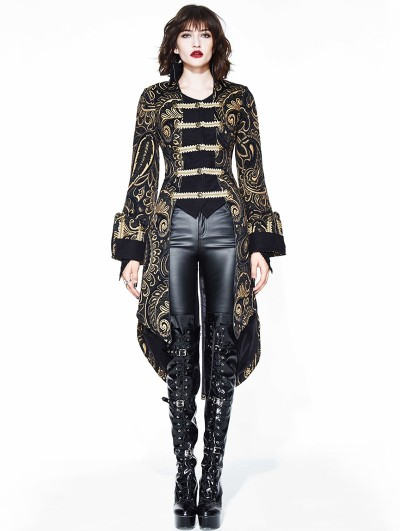 Devil Fashion Gold Gothic Retro Palace Swallow Tail Jacket for Women