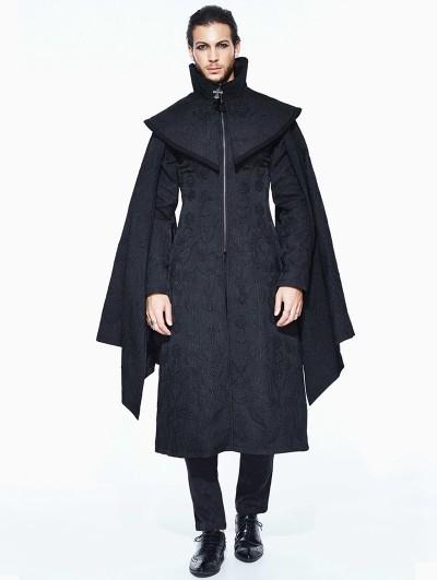 Devil Fashion Black Men's Gothic Long Coat with Detachable Cape