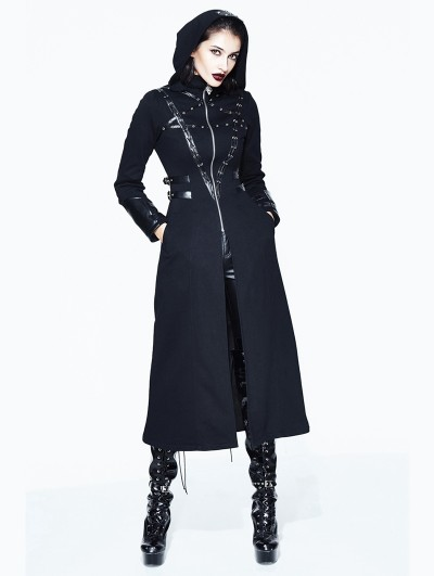Devil Fashion Black Gothic Long Hooded Coat for Women