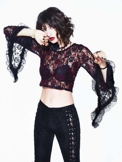 Devil Fashion Red Gothic Lace Semitransparent Shirt for Women