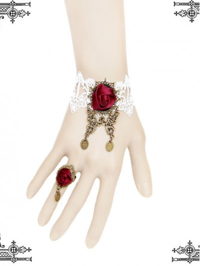 Handmade White Lace Red Flower Gothic Bracelet Ring Jewelry