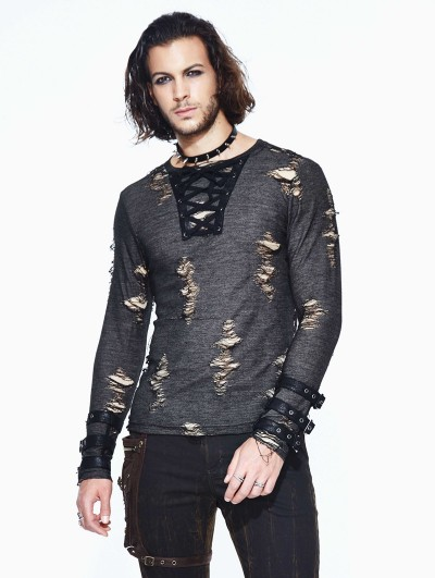 Devil Fashion Steampunk Long Sleeves Hole Knit Shirt for Men