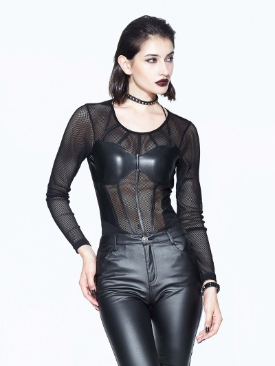 Devil Fashion Black Sexy Gothic Net Corset Top Shirt for Women