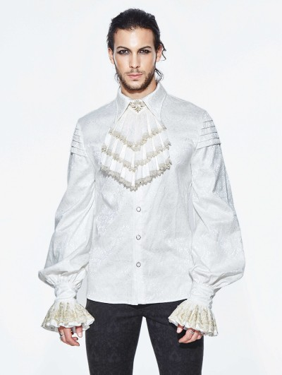 Devil Fashion White Gothic Retro Palace Style Men's Blouse with Detachable Bowtie