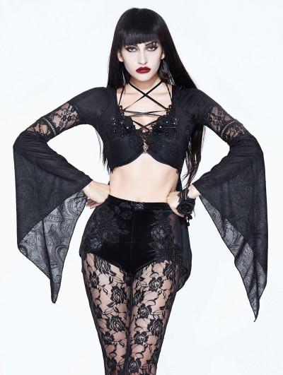 Devil Fashion Black Sexy Gothic Flower Beading Short Top for Women