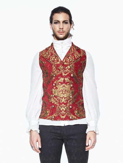 Devil Fashion Red Gothic Vintage Double-breasted Waistcoat for Men