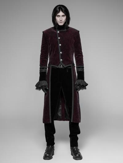 Punk Rave Red Velvet Gothic Tuxedo Coat for Men