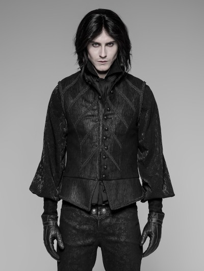 Punk Rave Black Gothic Victorian Retro Court Vest For Men
