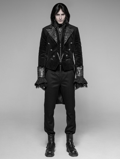 Punk Rave Black Velvet Gothic Swallow Tail Coat for Men