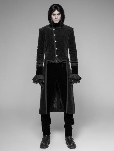 Punk Rave Black Velvet Gothic Tuxedo Coat for Men