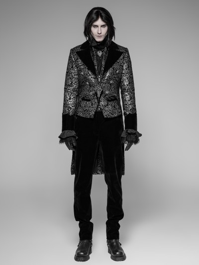 Punk Rave Sliver Vintage Gothic Swallow Tail Coat for Men