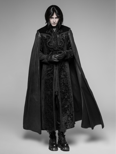 Punk Rave Black Gothic Night Count Vampire Long Cloak Coat for Men