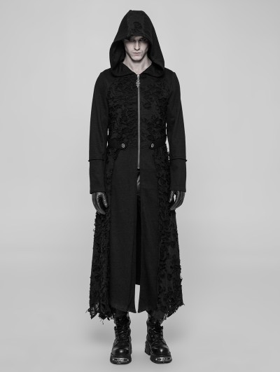 Punk Rave Black Gothic Diablo Long Hooded Coat for Men