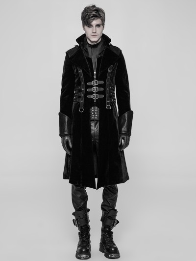 Punk Rave Black Velvet Gothic Punk Thick Coat for Men