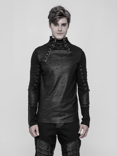 Punk Rave Black Gothic Punk Daily Long Sleeve T-Shirt for Men