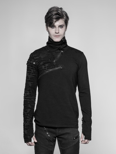 Punk Rave Black Gothic Punk Daily Pullover S Zipper Sweater for Men